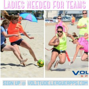 Ladies Wanted to join Coed Beach Soccer  Flag Footballhellip